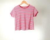 90s vintage striped red & white OXFORD STRIPES short sleeve shirt