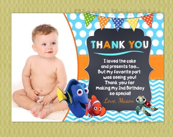 Finding Dory Thank You Card, Find Nemo Birthday Thank You Note , DIY Printable