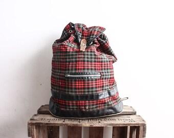 Vintage 1980s BackPack Checked Punk Grunge Shoulder Bag Messenger Pouch Strap Bag