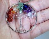Tree of Life Necklace, Tree of Life Jewelry, Healing Crystal and Stones, Tree of Life of Pendant, Chakra Jewelry, Chakra Necklace