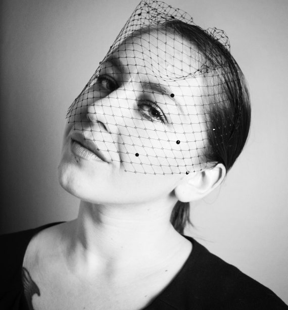 Black Birdcage Veil - Headband - Hair Accessories  - Vintage Glamour- Old Hollywood