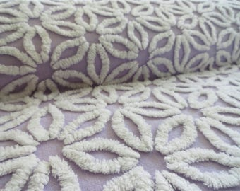 "Lavender, Purple Hofmann Daisy Vintage Chenille Bedspread Fabric Piece...18 x 24"""