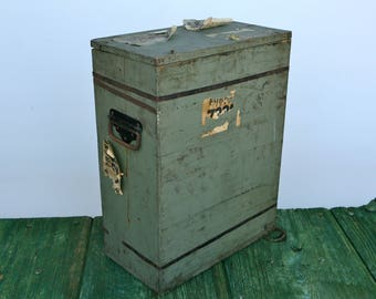 Vintage wooden box with original label, handles and lid