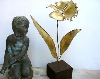 Brutalist Flower Sculpture Mid Century Modern Everlasting Metal Flower Wood Stand Hand Made