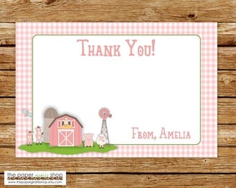 Pink Farm Thank You Card | Pink Farm Birthday Party Thank You Card | Barnyard Bash Thank You Card