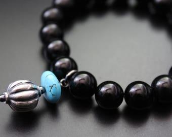 Onyx charm bracelet turquoise and sterling bead charm boho stretch bracelet tribal stacking bracelet gemstone onyx and turquoise bracelet
