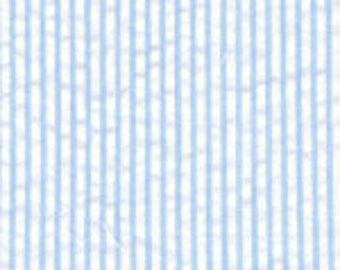 High Quality Fabric Finders Mini Striped Seersucker Fabric – Blue