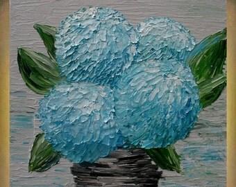 SALE Original Painting   Blue Hydrangea Flowers Impasto  Textured Palette Knife   Acrylic Still Life  Wall art Painting.