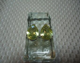 Pear Cut Checkerboard Faceted Lemon Quartz Earrings in Sterling Silver   #1904