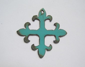 Fluer De Lis (Turquoise) metal pendant # EWKS-7tB