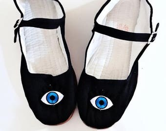 Anniversary sale Evil eye Cotton Mary Jane Shoes 90's  Any Size Limited Quanity