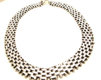 Reserved Sterling Silver Heavy Link Necklace - Articulated Woven Necklace - Weight 117.2 Grams - Woven Necklace # 4125