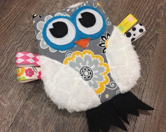 READY TO SHIP Owl Crinkle Toy in Gray and Yellow Flowers