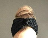 womens black jersey headband twist headband velour turban no slip christmas chic retro sixties stretch twisted head wrap ear warmer  winter