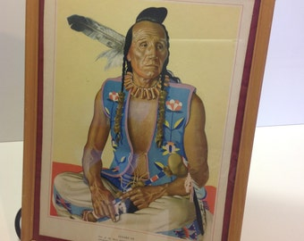 "Antique Native American Lithograph ""Clears Up"""