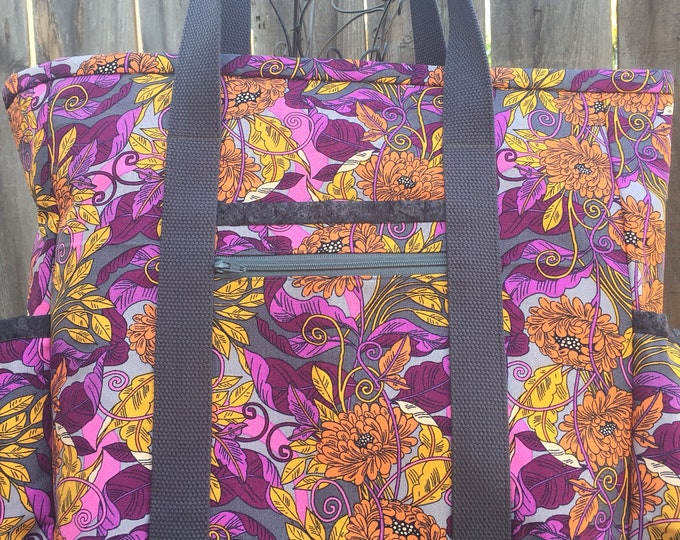 Leather Bottom Teacher Bag, Large Tote with Pockets, Nurse Tote, Diaper Bag, Professional Tote, Zippered Teacher Tote, Kitchen Sink Tote