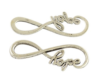 Infinity Pendants Connectors Infinity Links Infinity Charms Antiqued Silver Bracelet Connectors Word Charms HOPE Charms Wholesale Pendants