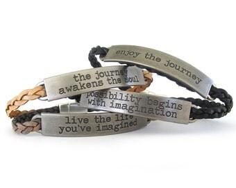 Inspirational Bracelet - Leather Bracelet - Inspirational Jewelry - Motivational Jewelry - Stackable Bracelet - Boho Bracelet - UL1219T