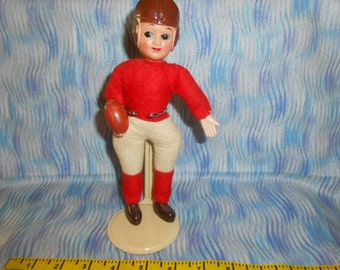 Vintage Celluloid Football Player Doll With Stand