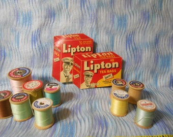 Vintage Lipton Needle Book and Wooden Spools Of Thread