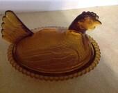 Vintage Amber Glass Hen Nesting Home Decor Candy Dish Trinket Box