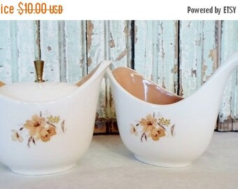 ON SALE Cream and Sugar, Set, Vintage, Taylor Smith Taylor, Ever Yours Wood Rose, Brown, Flowers,  Mid Century Modern, Cottage Chic