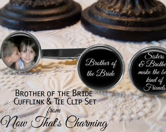 SALE! Brother of the Bride Personalized Cuff Links and Tie Clip Set - Wedding Cufflinks