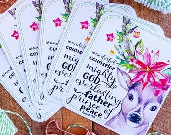 isaiah 9.6 inspired names of Christ / set of 6 journaling / bible journaling cards gift tags gift wrap