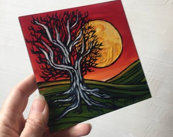 Red tree with moon original painting