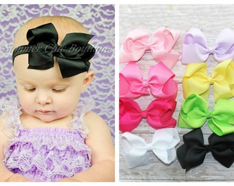 You Pick Color Baby Headband, Baby Bow, Infant Headband, Newborn Headband - Bow Headband, Headband, Boutique Bow on Fold over elastic