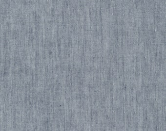 Kaufman Indigo Double Gauze Chambray -  lightweight denim cotton double gauze fabric