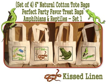 """Amphibians Reptiles Nature Ourdoor Explore Birthday Party Treat Favor Gift Bags Mini 6""""x6"""" Natural Cotton Totes Frogs Snakes Lizards Turtles"""