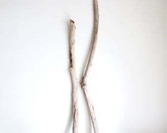 2 Long Driftwood Pieces -- Fine Quality Straight Drift Wood for Macrame, Curtains, Clothes Racks, Wall Hanging Wovens, Tapestry, Quilt