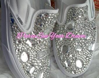 Swaorvksi Crystal Designed Wedding Vans Authentic Shoes - Vans Wedding Shoes - Custom Wedding Shoes - Rhinestone Vans