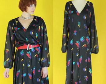 Vintage 70s Dress - Colorful Dress - Sheer Sleeve Dress - Deep V Dress - Low Cut Pleated Midi Dress - Plus Size Vintage Dress - Black Dress