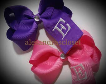 Embroidered Letter E Initial Momogram Hair Bow Girls Infant Toddler Tween Everyday School Bows Birthday Hair Bow Spring Hair Bow