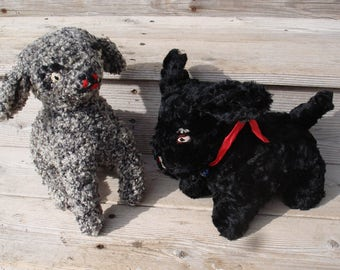 Vintage Scotty  Black Dog and Lamb Stuffed Animals