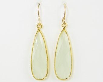Pale Green Earrings, Green Teardrop Earrings, Long Green Dangle Earrings, Aqua Chalcedony Earrings Green Gemstone Long Dangle Earrings |DRW2