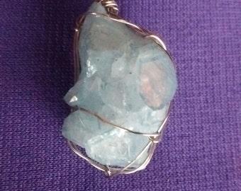 Aqua aura crystal wire wrap pendant, aqua aura quartz crystal wire wrapped necklace, gypsy jewelry, aqua aura pendant, crystal gypsy jewelry