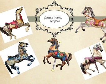 Vintage Carousel Horses Collage Sheet Instant download A4 size