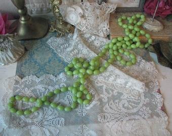 Super Long 74'' 1960s Vintage Lime Green Lucite Bead Necklace Vintage Neckace