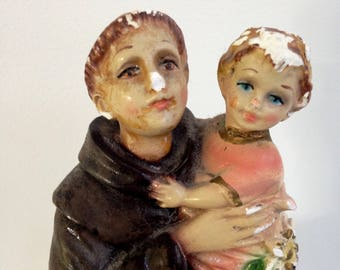 vintage Joseph Jesus St Francis St Nicholas chalkware religious Figure Statue