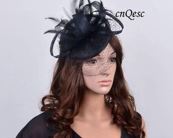 BLACK sinamay fascinator Veiling fascinator formal hat for Royal Ascot wedding kentucky derby tea garden party.