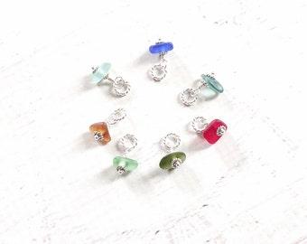 Mini Beach Glass Charm   Sea Glass Charm   Sterling Silver Sea Glass Jewelry   Genuine Beach Glass Jewelry Tiny Sea Glass Slice