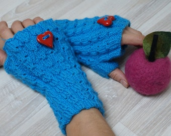 Knit wrist arm warmers cuff handmade Fingerless mittens wool gloves blue stretchy with red heart ceramic button stretchy size S M L bracelet