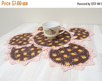 BLACK FRIDAY SALE Doilies coaster flower set of 6 six crochet mat pad round pink brown floral orange yellow table placemat doily cotton knit