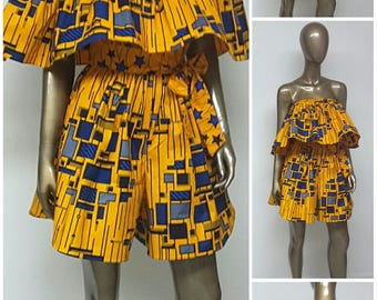 African Print Off-Shoulder Romper . Ankara Romper. Jumpsuit.  Culottes. Playsuit. Pockets. Sash. Summer. Womens. Handmade.