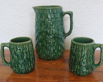 Antique Brush McCoy Stoneware Basketweave Morning Glory Pitcher 2 Mugs Green Glaze Yellowware Willow Ware