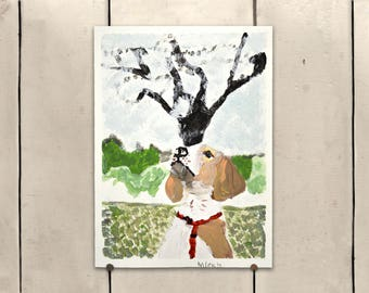 """Beagle Original Art  9.5x11"""" One of a Kind 100% of the profits go directly to artists with disabilities Item 70 Mike H."""