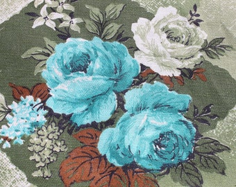 Vintage Blue Rose Cotton Curtain Fabric by the Yard, MOD Retro Green Turquoise Floral, Pillow tote fabric BTY Yardage